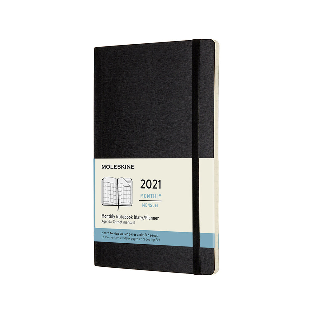 MOLESKINE 12 Month Large Size Monthly Planner Soft Cover Black