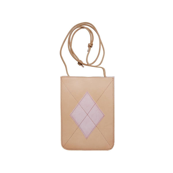 LOG-ON Design Award Urban Preppy Leather Shoulder Bag-BEIGE