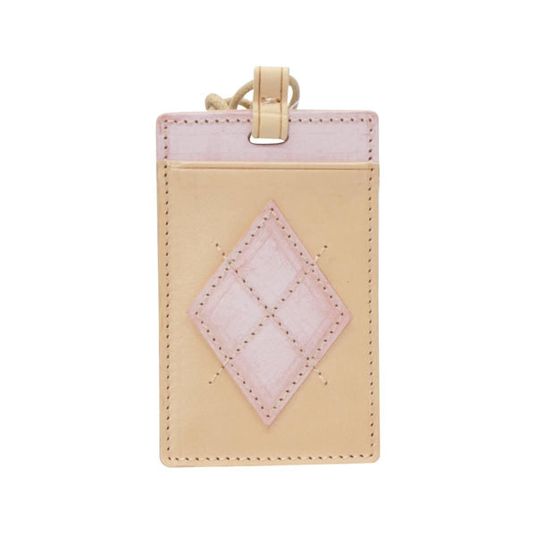 LOG-ON Design Award Urban Preppy Leather Card Holder-BEIGE