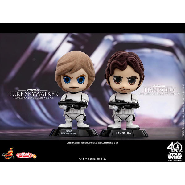 """HOT TOYS  《Star Wars: A New Hope》 Luke Skywalker & Han Solo (Stormtrooper Disguise Version)  COSBABY(S) Bobble-Head Collectible Set"""