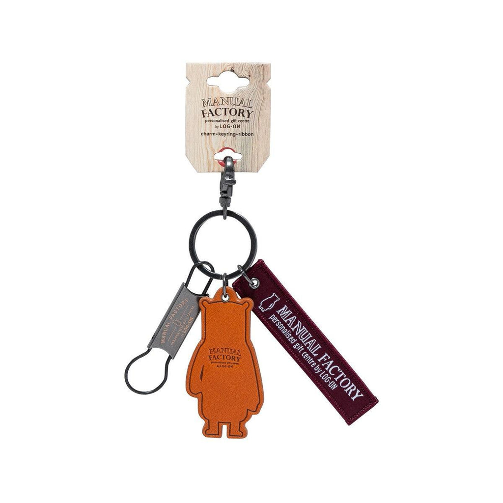 Manual Factory Bear Key Ring Set w/ Leather Charm Red