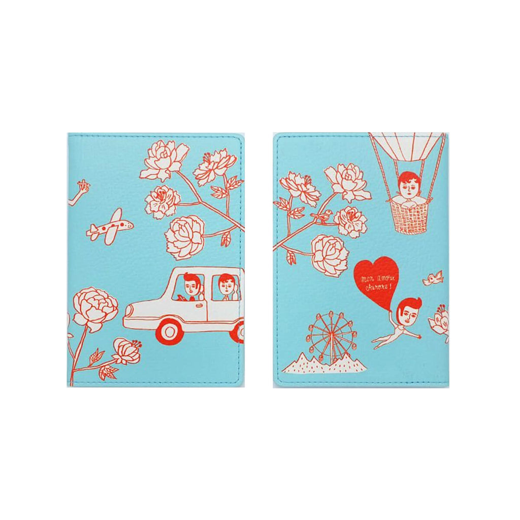 Oohlala Passport Case V2-Aurore And Pierre Red-Blue