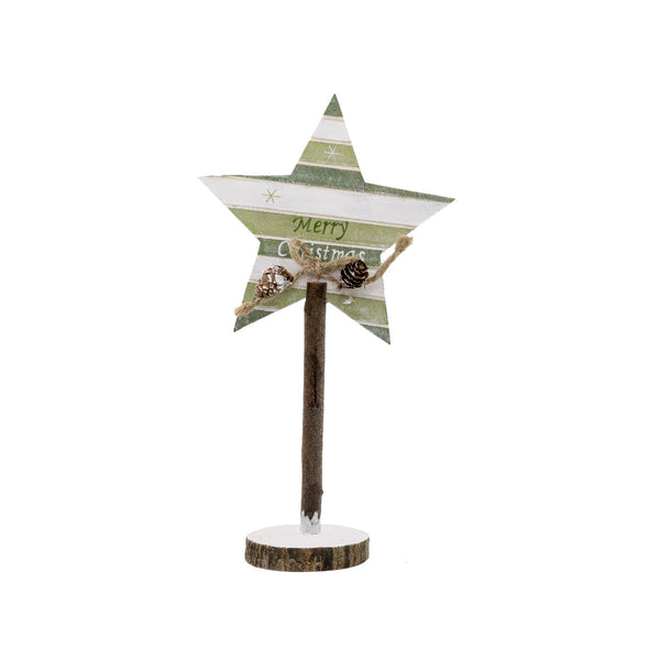 Wooden Star Trunk Green 28CM