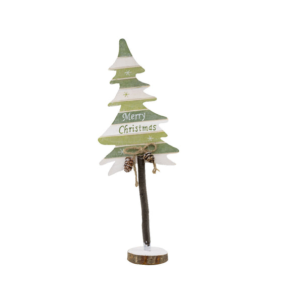 Wooden Tree Trunk Green 35CM