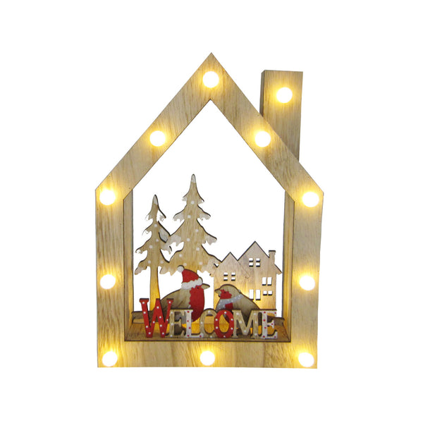 "Wooden Decoration House - ""WELCOME"" H30CM with 11LED"