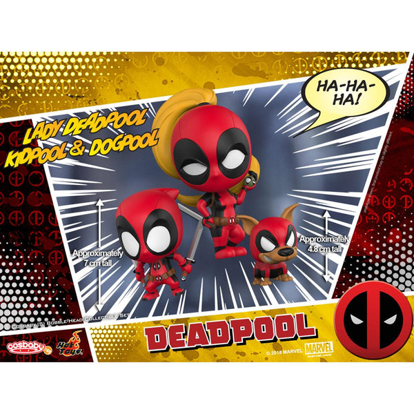 Hot Toys Lady Deadpool, Kidpool & Dogpool COSBABY (S) Bobble-Head Collectible Set