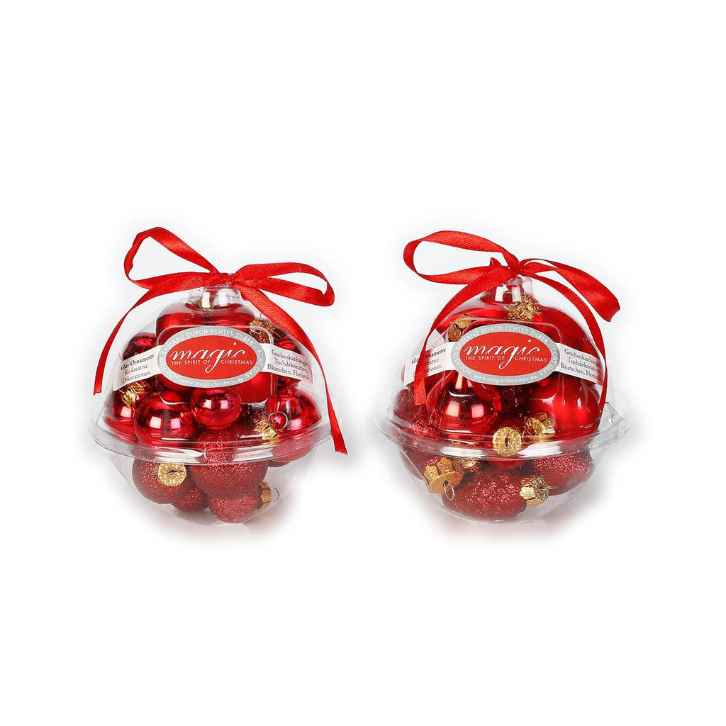 Glass ornament set Mini Ball 2CM RED