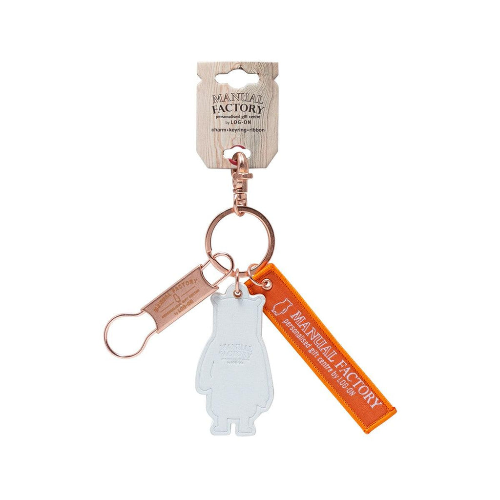 Manual Factory Bear Key Ring Set w/ Leather Charm Rose Gold