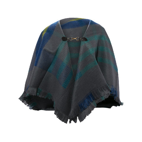LOG-ON Square Tartan Poncho-GREY