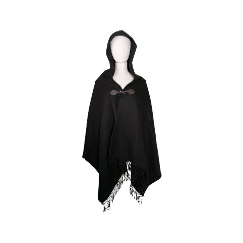 LOG-ON Hoodie Poncho-BLACK