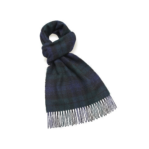 BRONTE BY MOON Wide Tartan Lambswool Scarf - BLACK WATCH