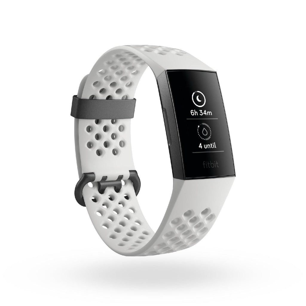 Fitbit Charge 3 (Frost White Graphite) Inclubes Extra Black Classic Band