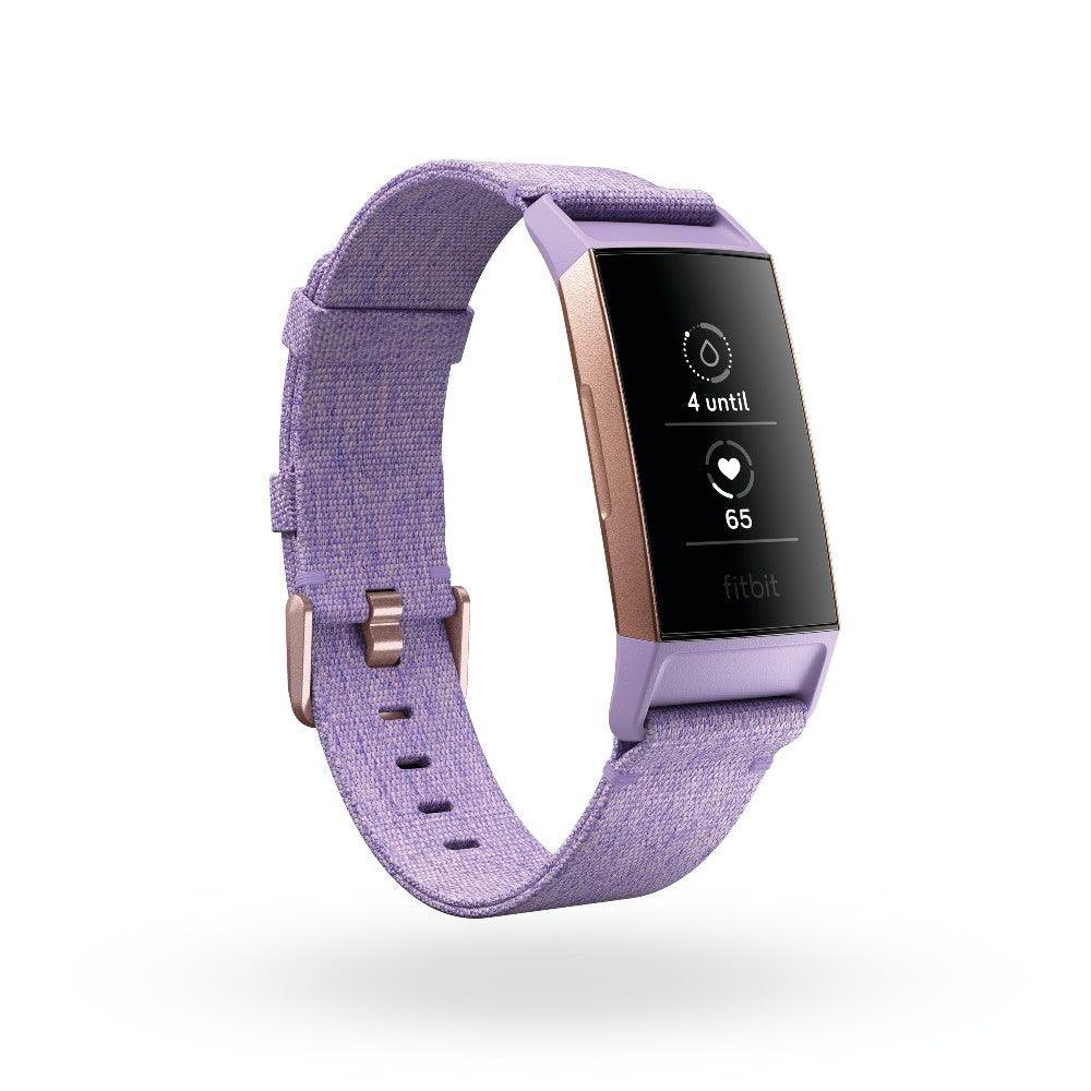 Fitbit Charge 3 Lavender Woven Band/Rose Gold Aluminium Tracker Include Extra Black Classic Band
