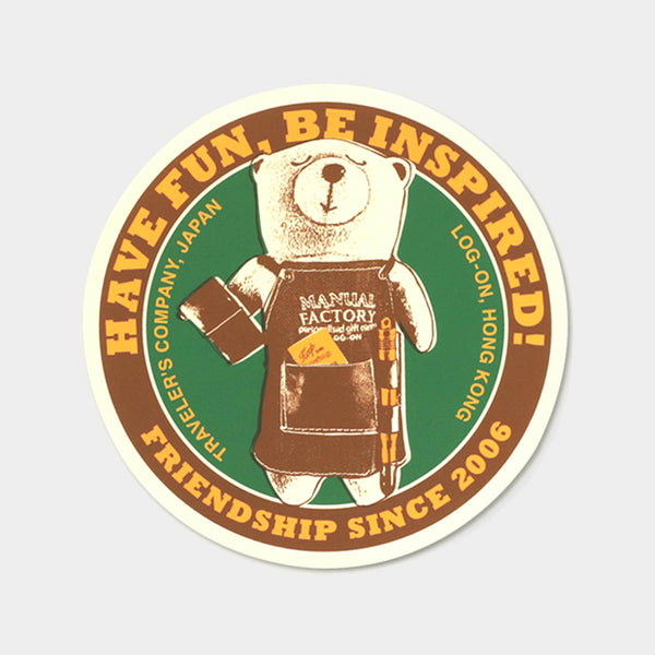 TRAVELER'S notebook Baggage Sticker MF BEAR Circle Brown/Green
