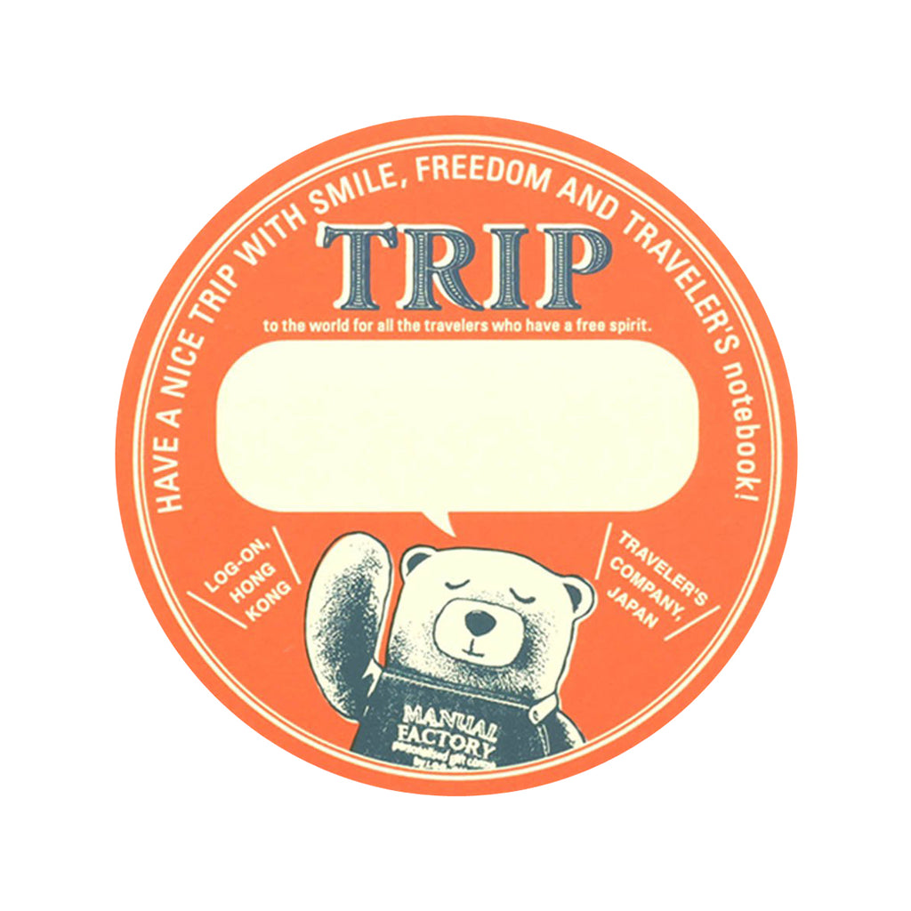 TRAVELER'S notebook Baggage Sticker MF BEAR Circle Orange