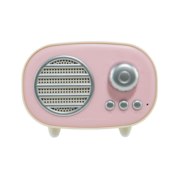 THECOOPIDEA Retro Mini Wireless Speaker Pink