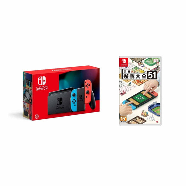 Nintendo Switch Joy-Con(L)Neon Blue/(R)Neon Red + 51 World (Bundle Set)