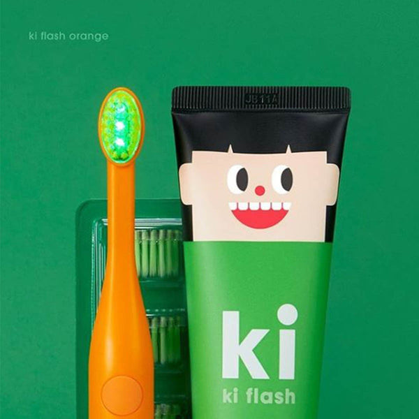 E:Flash KI Flash Kids Green LED Dental Care Set - Orange ( Made in Korea)