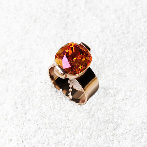 pink orange adjustable statement ring ethical jewellery