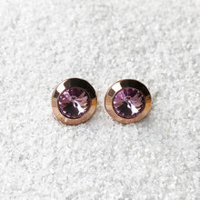 amethyst swarovski stud earrings in rose gold
