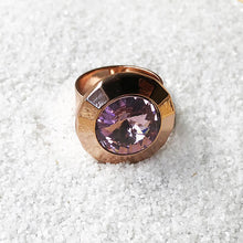 sparkly amethyst and rose gold adjustable statement ring