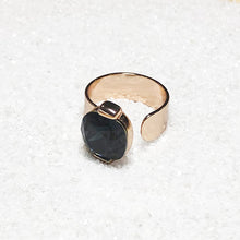 adjustable cocktail rings rose gold and black swarovski crystal