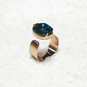 unique turquoise and rose gold adjustable ring