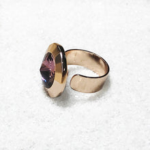 adjustable rose gold statement ring swarovski crystal