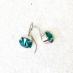 Aqua Crystal Drop Earrings