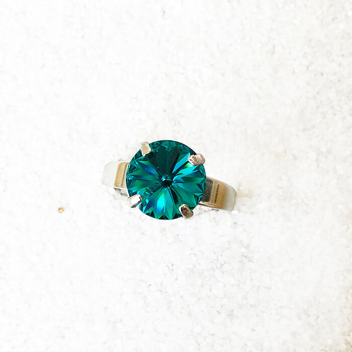 turquoise and silver sparkly cocktail ring ethical jewellery