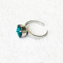 rhodium plated silver and turquoise swarovski adjustable cocktail ring australia