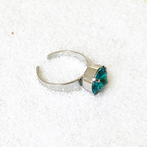 turquoise swarovski crystal and rhodium plated ring