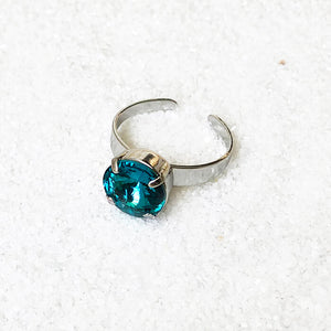 silver and turquoise swarovski sparkly cocktail ring