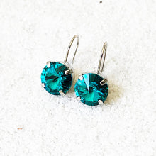 rhodium plated turquoise swarovski crystal drop earrings ethical jewellery