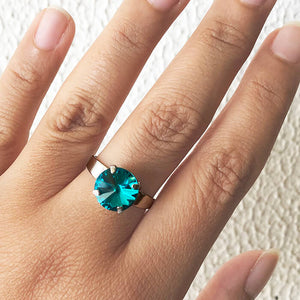 turquoise swarovski sparkly rhodium plated ring on hand