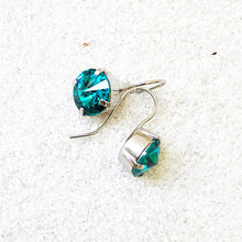 rhodium plated turquoise sparkly crystal drop earrings ethical earrings
