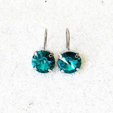 rhodium finish and turquoise unique crystal drop earrings