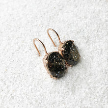 black and rose gold crystal drop earrings ethical jewellery