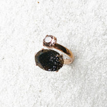 elegant swarovski adjustable ring black and vintage rose ethical jewellery