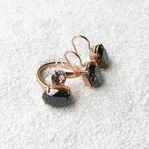 sparkly black patina crystal drop earrings and dual stone statement ethical ring