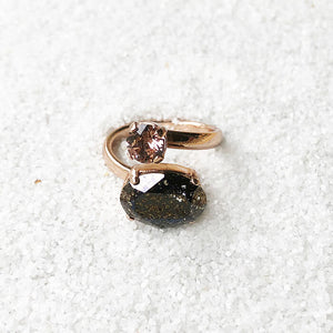 swarovski statement ring black patina vintage rose ethical jewellery