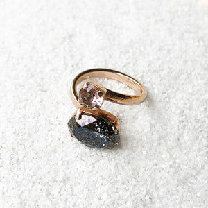 Unique adjustable dual stone statement ring elegant jewellery