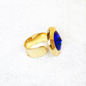 elegant statement ring Blue and Gold