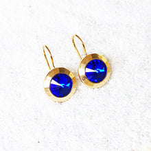 unique majestic blue and gold sparkly drop hook earrings