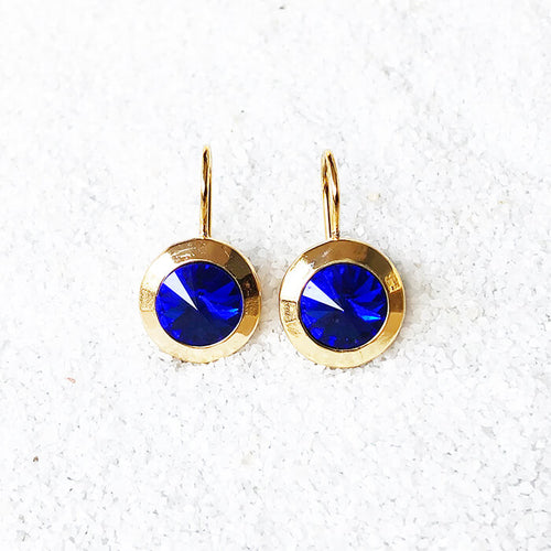 ethical blue and gold crystal drop earrings