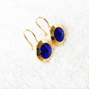beautiful earrings majestic blue and gold crystal