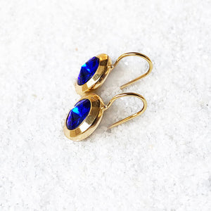 unique ethical earrings majestic blue and gold