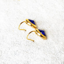 majestic blue and gold bold unique hook earrings
