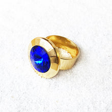 unique statement ring Blue and Gold