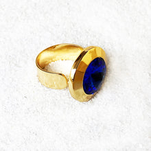 unique sparkly jewellery statement rings Blue and Gold